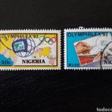 Sellos: NIGERIA YVERT 586/7 SERIE COMPLETA USADA. OLYMPHILEX 92 . BARCELONA. Lote 206423925