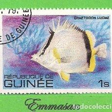 Sellos: REPÚBLICA DE GUINEA - MICHEL 871 - YVERT 659 - PEZ CHAETODON LUCIAE. (1980).. Lote 207000567