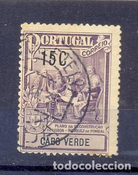 CABO VERDE, USADO1925,MARQUES DE POMBAL, PLANO DE LA CONSTRUCCION DE LISBOA (Sellos - Extranjero - África - Otros paises)