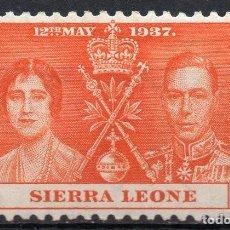 Sellos: SIERRA LEONA/1937/MH/SC#170/ EMISION DE CORONACION / REY EDUARDO VII & REINA ELIZABETH / REALEZA. Lote 215500036