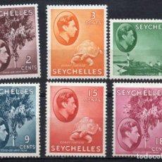 Sellos: SEYCHELLES/1938-41/MH/SC#125, 127, 129B, 131, 133-4/ REY EDUARDO VII / TORTUGA/ PALMERA / COCOTERO. Lote 215502677