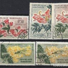 Francobolli: GABÓN 1961 - FLORES, 5 VALORES - USADOS. Lote 215702038