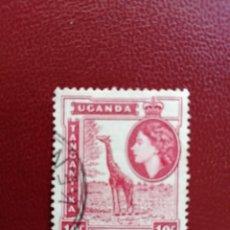 Timbres: UGANDA, TANGANYKA Y KENYA - VALOR FACIAL 10 C - AÑO 1954 - JIRAFA Y REINA ISABEL II. Lote 216518771