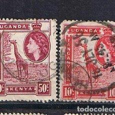 Timbres: UGANDA KENYA TANGANIKA 1957 ISABEL II - 2 SELLOS CLASICO ANTIGUO COLONIAS BRITANICAS AFRICA ORIENTAL. Lote 220388020