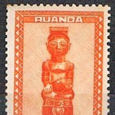 Sellos: RUANDA URUNDI Nº 105, ESTATUILLAS Y MÁSCARAS, REY TRIBAL NDOHA SENTADO, NUEVO SEÑAL CHARNELA. Lote 221688223