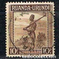Sellos: RUANDA URUNDI Nº 97 (AÑO 1942), SOLDADO ASKARI, USADO. Lote 221688726
