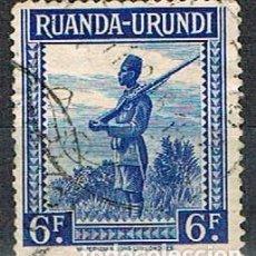 Sellos: RUANDA URUNDI Nº 95 (AÑO 1942), SOLDADO ASKARI, USADO. Lote 221688866
