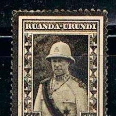 Sellos: RUANDA URUNDI Nº 61 (AÑO 1934), SELLO DE LUTO POR LA MUERTE DEL REY ALBERTO I, NUEVO SEÑAL CHARNELA. Lote 221689351
