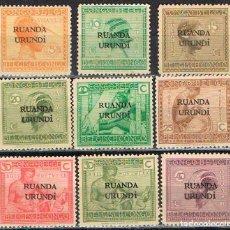 Sellos: RUANDA URUNDI Nº 1/9 (AÑO 1924), TIPOS LOCALES, NUEVO CON SEÑAL DE CHARNELA (SERIE COMPLETA). Lote 221690643