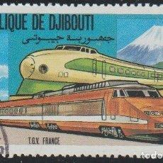 Sellos: DJIBOUTI 1981 SCOTT 527 SELLO * TREN FERROCARRIL LOCOMOTIVES FRANCIA TGV Y JAPON 962 MICHEL 302. Lote 222361582
