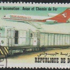 Sellos: DJIBOUTI 1982 SCOTT 550 SELLO * TRANSPORTES AVION Y TREN FERROCARRIL LOCOMOTIVES MICHEL 343 YV. 556. Lote 222362317