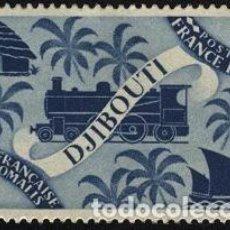 Sellos: SOMALIA 1942 YVERT 234 SELLO ** COSTA FRANCESA DE SOMALIA CHOZA, LOCOMOTORA Y BARCO A VELA DJIBUTI. Lote 222369345