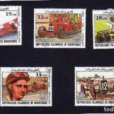 Francobolli: ÁFRICA. MAURITANIA. ANIVERSARIO GRAN PRIX DE FRANCIA. 1982. SERIE COMPLETA. USADOS SIN FIJA SELLO. Lote 223654603