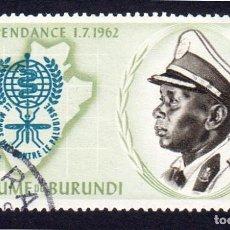 Sellos: ÁFRICA. BURUNDI. NAVIDAD INDEPENDENCIA 1962. USADO SIN FIJA SELLO. Lote 223726728