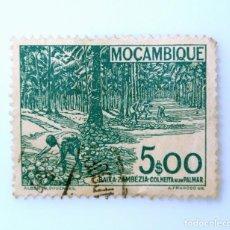 Sellos: SELLO POSTAL MOZAMBIQUE 1948 , 5 ESCUDO, COSECHA BAJA DE ZAMBÉZIA EN UN PLAMAR, USADO. Lote 233862870