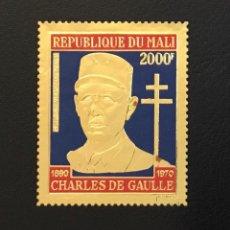 Sellos: 1971-REPUBLICA DE MALI YVERT Y TELLIER PA 114 CHARLES DE GAULLE - SELLO ORO FOIL NUEVO SIN CHARNEL. Lote 234726005