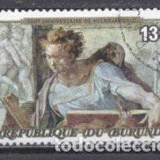 Sellos: BURUNDI ,1970/79,ANIVERSARIO DE MIGUEL ANGEL, PREOBLITERADO. Lote 238125275