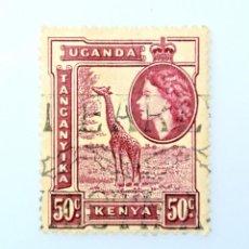 Sellos: SELLO POSTAL AFRICA ORIENTAL BRITANICA-KENIA-UGANDA-TANGANIKA 1954, 50 C,ELIZABETH II, JIRAFA ,USADO. Lote 241730505