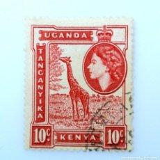 Sellos: SELLO POSTAL AFRICA ORIENTAL BRITANICA-KENIA-UGANDA-TANGANIKA 1954, 10 C,ELIZABETH II, JIRAFA ,USADO. Lote 241752805