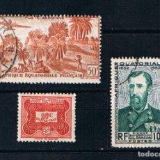 Timbres: AFRICA ECUATORIAL FRANCESA - TRES SELLOS ANTIGUOS COLONIAS AFRICANAS. Lote 241814410