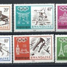 Sellos: RWANDA N°263/68** (MNH) 1968 - J.O DE MEXICO. Lote 244480470
