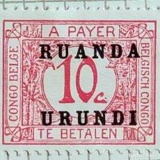 Sellos: SELLO DE CONGO BELGA SOBRECARGADO RUANDA-URUNDI 1924 POSTAGE DUE 10 C. Lote 246341555
