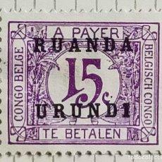 Sellos: SELLO DE CONGO BELGA SOBRECARGADO RUANDA-URUNDI 1924 POSTAGE DUE 15 C. Lote 246342440