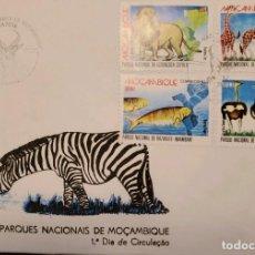 Sellos: O) 1993 MOZAMBIQUE, PARQUES NACIONALES- RESERVA, BONITA CANCELACION, GORONGOSA, LEON, BANHINE, JIRAF. Lote 254468595