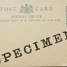 Sellos: O) SIERRA LEONA, MUESTRA, REY GEORGE V, ENTERO POSTAL 1/2 P. VERDE, SIN UTILIZAR. Lote 255027385