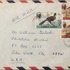 Sellos: O) 1980 SIERRA LEONA, AVES, PRESIDENTE STEVENS, CORREO AÉREO CIRCULA A EE. UU.. Lote 255306075