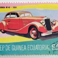 Sellos: SELLO DE GUINEA ECUATORIAL 0,45 E, 1977, COCHES ANTIGUOS, USADO SIN SEÑAL DE FIJASELLOS. Lote 255349905