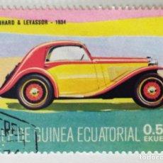 Sellos: SELLO DE GUINEA ECUATORIAL 0,50 E, 1977, COCHES ANTIGUOS, USADO SIN SEÑAL DE FIJASELLOS. Lote 255349940