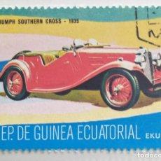 Sellos: SELLO DE GUINEA ECUATORIAL 1 E, 1977, COCHES ANTIGUOS, USADO SIN SEÑAL DE FIJASELLOS. Lote 255350015
