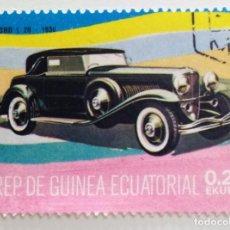 Sellos: SELLO DE GUINEA ECUATORIAL 0,25 E, 1977, COCHES ANTIGUOS, USADO SIN SEÑAL DE FIJASELLOS. Lote 255350210