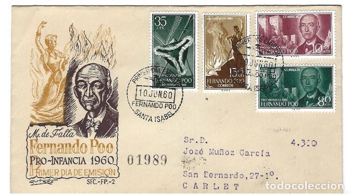 SOBRE PRIMER DIA 1960 FERNANDO POO 188/91 PRO INFANCIA 4V. MANUEL DE FALLA (Sellos - Extranjero - África - Otros paises)