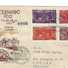 Sellos: SOBRE PRIMER DIA 1961 FERNANDO POO 203/06 DIA DEL SELLO 4 SELLOS /FAUNA. Lote 257318220