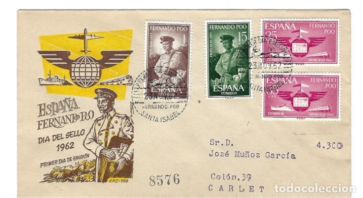 SOBRE PRIMER DIA 1962 FERNANDO POO 210/12 DIA DEL SELLO /MILITARES (Sellos - Extranjero - África - Otros paises)