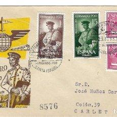 Sellos: SOBRE PRIMER DIA 1962 FERNANDO POO 210/12 DIA DEL SELLO /MILITARES. Lote 257320955