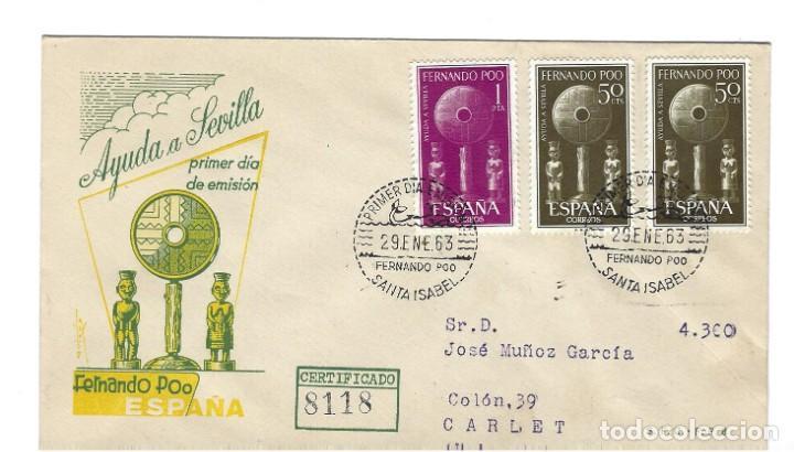 SOBRE PRIMER DIA 1963 FERNANDO POO 213/14 AYUDA A SEVILLA (Sellos - Extranjero - África - Otros paises)