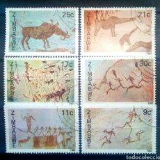 Sellos: ZIMBABWE PINTURAS RUPESTRES SERIE DE SELLOS USADOS. Lote 257393085
