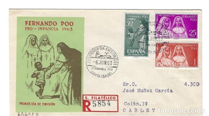 SOBRE PRIMER DIA 1963 FERNANDO POO 215/17 PRO INFANCIA (Sellos - Extranjero - África - Otros paises)