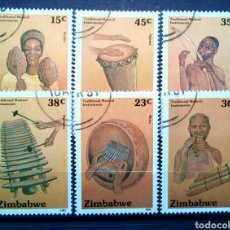 Sellos: ZIMBABWE INSTRUMENTOS MUSICALES TRADICIONALES SERIE DE SELLOS USADOS. Lote 257401575