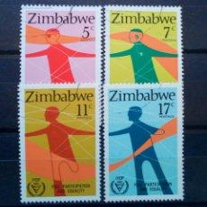 Sellos: ZIMBABWE PARTICIPACION E IGUALDAD SERIE DE SELLOS USADOS. Lote 257403115