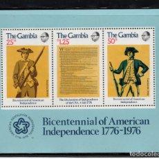 Sellos: GAMBIA HB 1** - AÑO 1976 - BICENTENARIO DE LA INDEPENDENCIA DE LOS ESTADOS UNIDOS. Lote 277513298