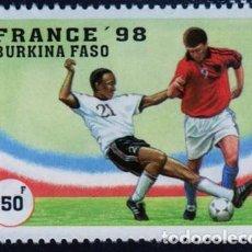 Timbres: ÁFRICA. BURKINA FASO. CAMPEONATO MUNDIAL DE FUTBOL. FRANCIA.1998. NUEVO SIN CHARNELA. Lote 278306018