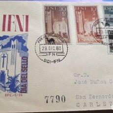 Sellos: SOBRE PRIMER DIA 1960 IFNI 172/75 DIA DEL SELLO. IGLESIA S.Mª MAR CIRCULADO SFC. Lote 279444513