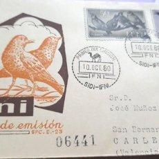 Sellos: SOBRE PRIMER DIA 1960 IFNI 163/4 + 166 SERIE CORTA FAUNA AVES. Lote 279445558