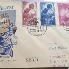 Sellos: SOBRE PRIMER DIA 1962 IFNI 190/92 DIA DEL SELLO CIRCULADO SFC. Lote 279460323