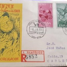 Sellos: SOBRE PRIMER DIA 1963 IFNI 195/97 PRO INFANCIA MARIPOSAS CIRCULADO SFC. Lote 279463038