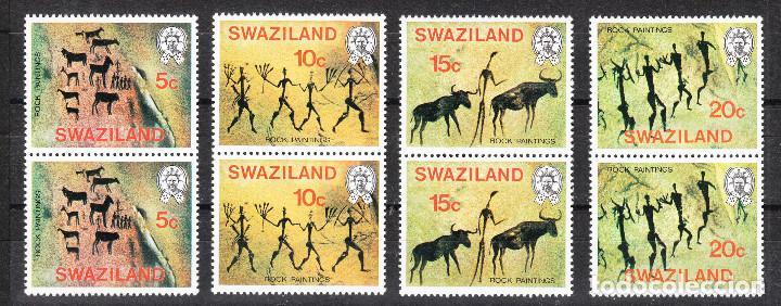 SWAZILAND 1977 PINTURAS RUPESTRES SERIE COMPLETA POR PAREJAS ** (Sellos - Extranjero - África - Otros paises)